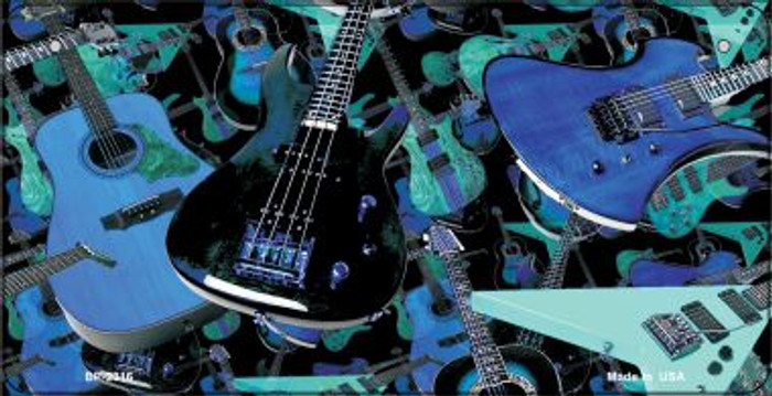 Guitars Blue Background Wholesale Metal Novelty Bicycle License Plate BP-2316