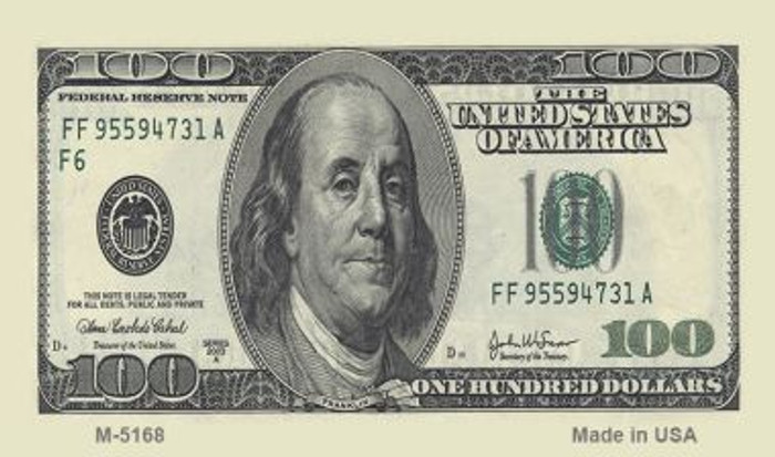 $100 Bill Wholesale Metal Novelty Magnet M-5168