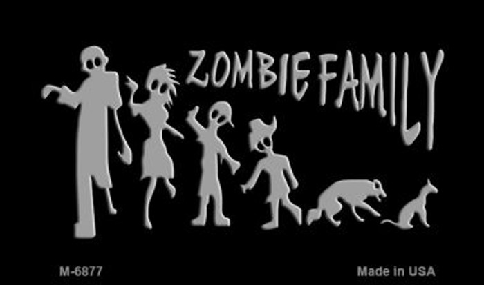 Zombie Family Black Novelty Wholesale Metal Magnet M-6877