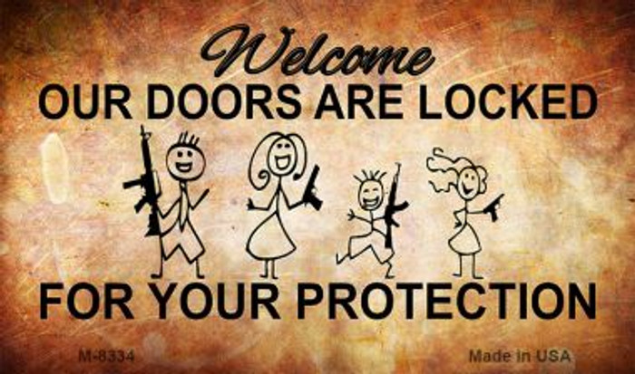 Doors Locked Your Protection Wholesale Metal Novelty Magnet M-8344