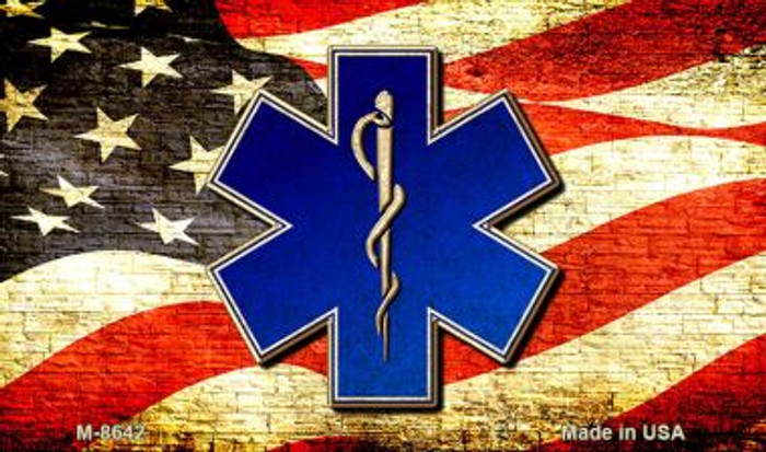 EMT Logo With USA Flag Wholesale Metal Novelty Magnet M-8642