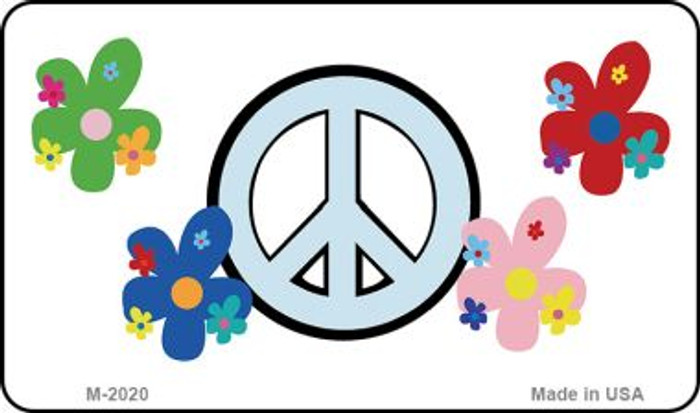 Peace Sign and Flowers Wholesale Metal Novelty Magnet M-2020