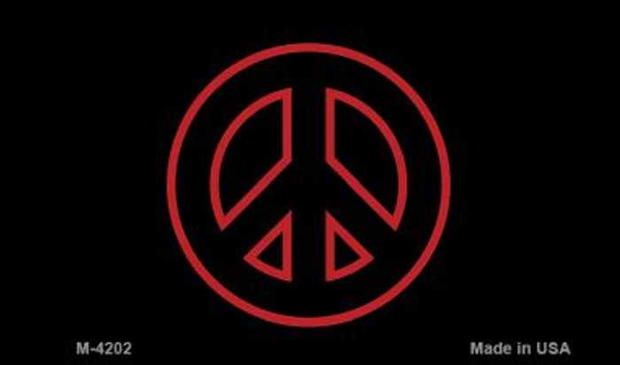Red Peace Sign Wholesale Metal Novelty Magnet M-4202