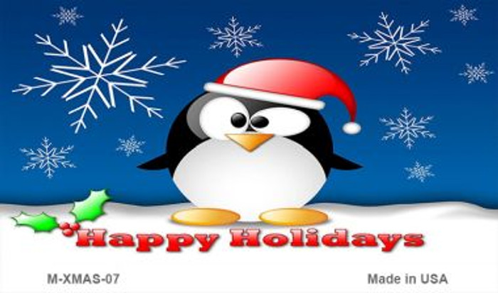 Happy Holidays Penguin Wholesale Metal Novelty Magnet XMAS-07
