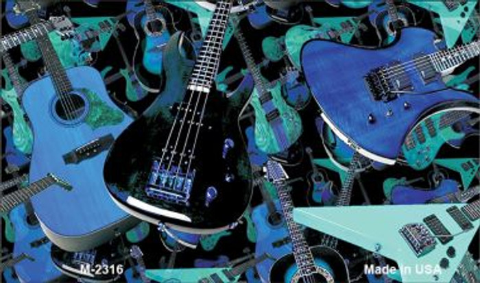 Guitars Blue Background Wholesale Metal Novelty Magnet M-2316