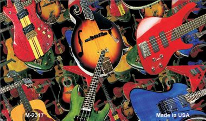 Guitars Black Background Wholesale Metal Novelty Magnet M-2317