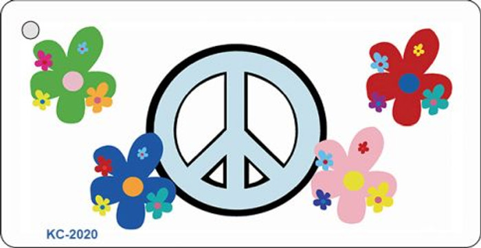 Peace Sign and Flowers Wholesale Metal Novelty Key Chain KC-2020