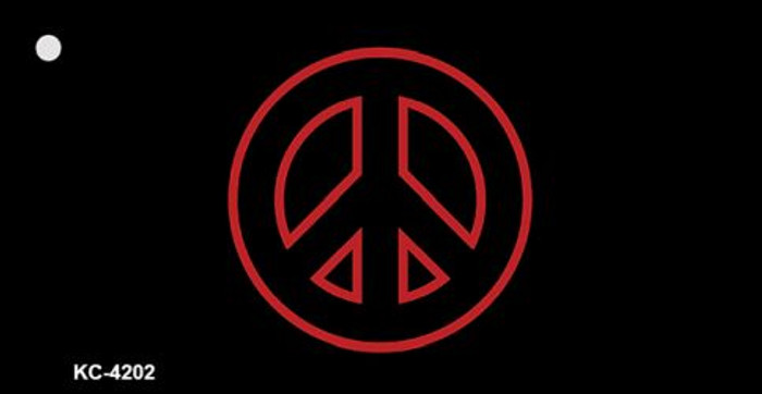 Red Peace Sign Wholesale Metal Novelty Key Chain KC-4202
