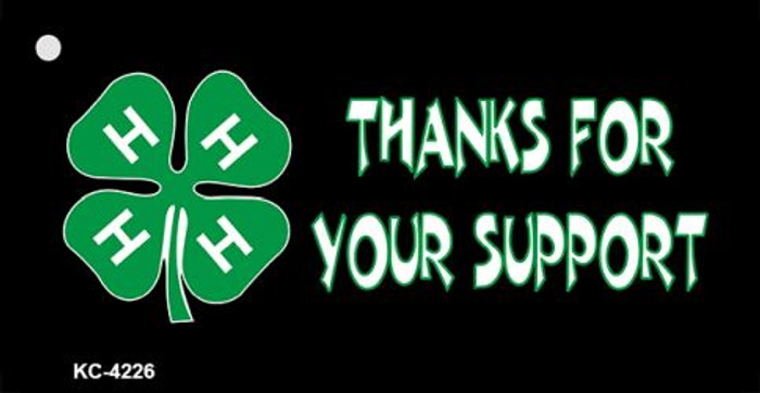 Thanks For Your Support 4-H Wholesale Metal Novelty Key Chain KC-4226