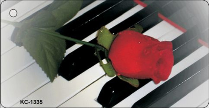 Piano Keys Red Rose Novelty Wholesale Metal Key Chain KC-1335