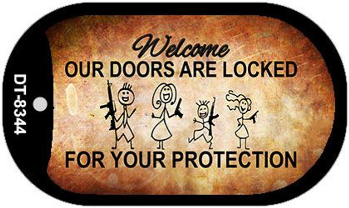 Doors Locked Your Protection Wholesale Metal Novelty Dog Tag Kit DT-8344