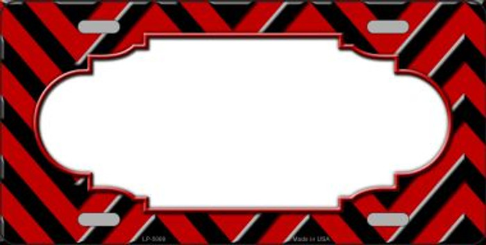 Red Black Chevron Scallop Wholesale Metal Novelty License Plate LP-5068