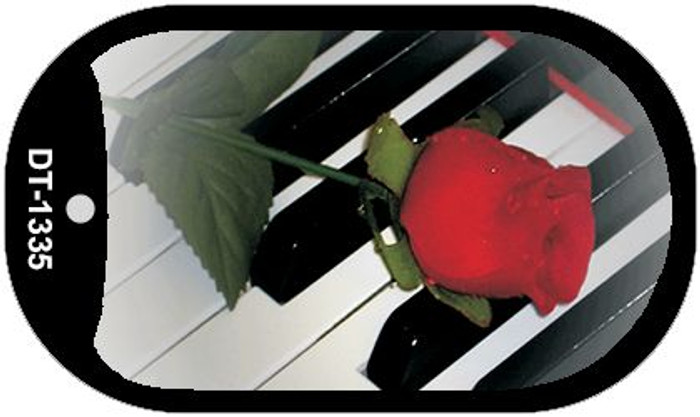 Piano Keys Red Rose Novelty Wholesale Metal Dog Tag Kit DT-1335