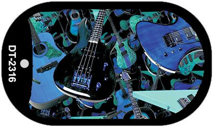 Guitars Blue Background Wholesale Metal Novelty Dog Tag Kit DT-2316