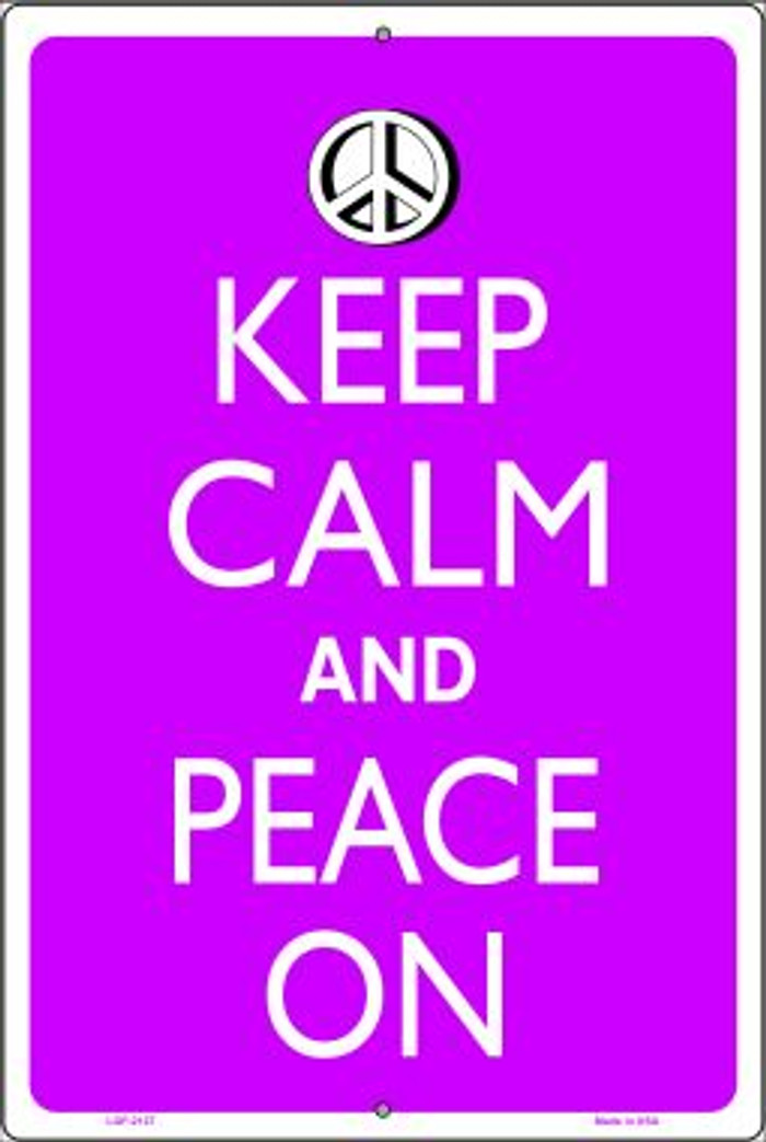 Keep Calm And Peace On Wholesale Metal Novelty Large Parking Sign LGP-2127