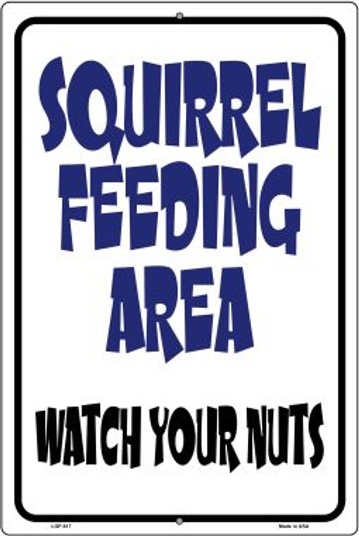 Squirrel Feeding Area Wholesale Metal Novelty Large Parking Sign LGP-617