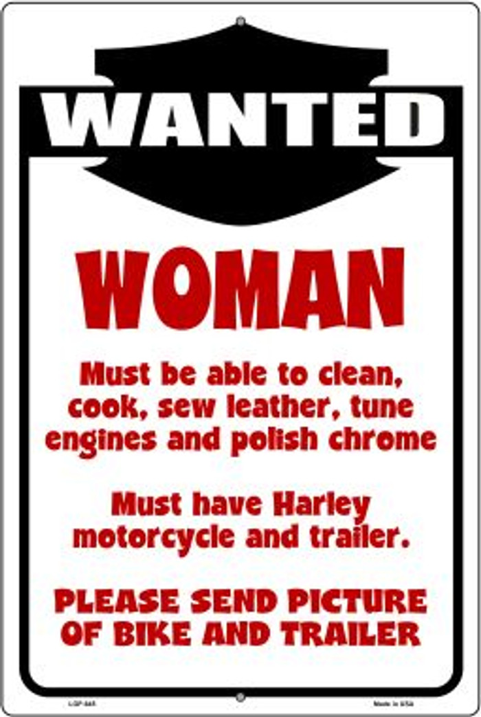 Woman Wanted Wholesale Metal Novelty Large Parking Sign LGP-645