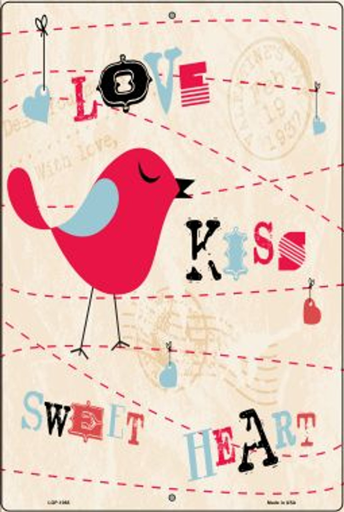 Love Kiss Red Bird Wholesale Metal Novelty Large Parking Sign LGP-1068