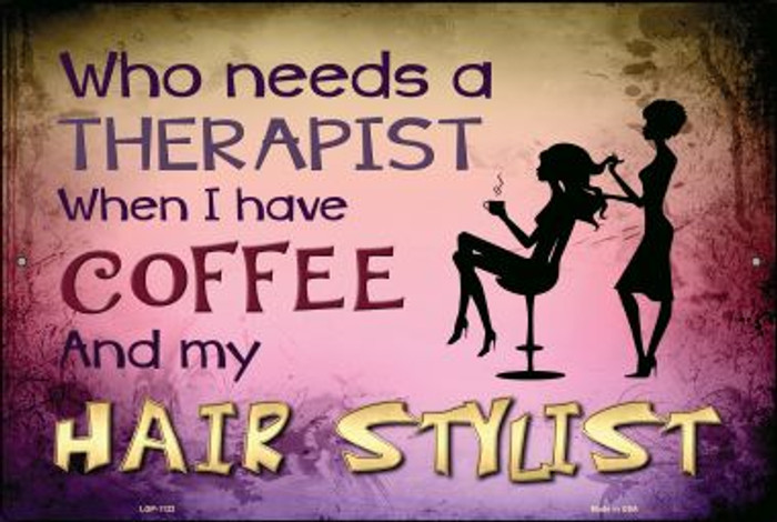 Coffee And Hair Stylist Wholesale Metal Novelty Large Parking Sign LGP-1122