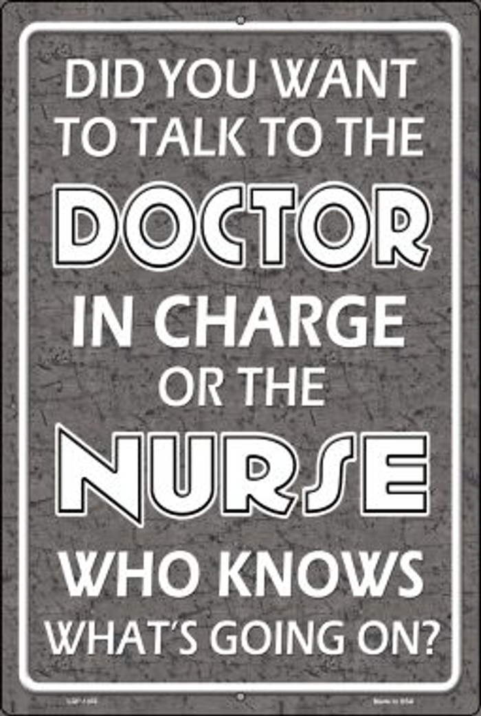 Doctor In Charge Wholesale Metal Novelty Large Parking Sign LGP-1305