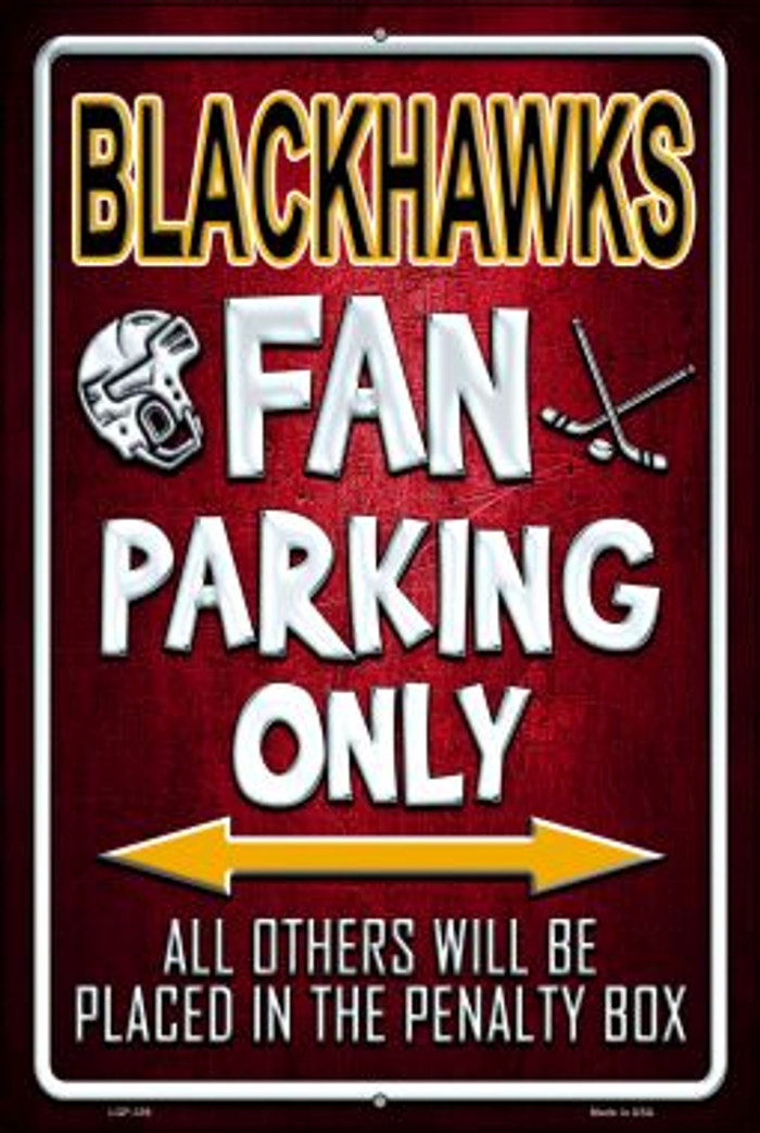 Black Hawks Wholesale Metal Novelty Large Parking Sign LGP-339