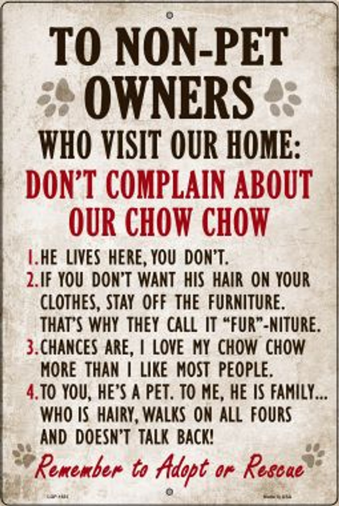 Non-Pet Owners Chow Chow Large Parking Sign Wholesale Metal Novelty LGP-1631