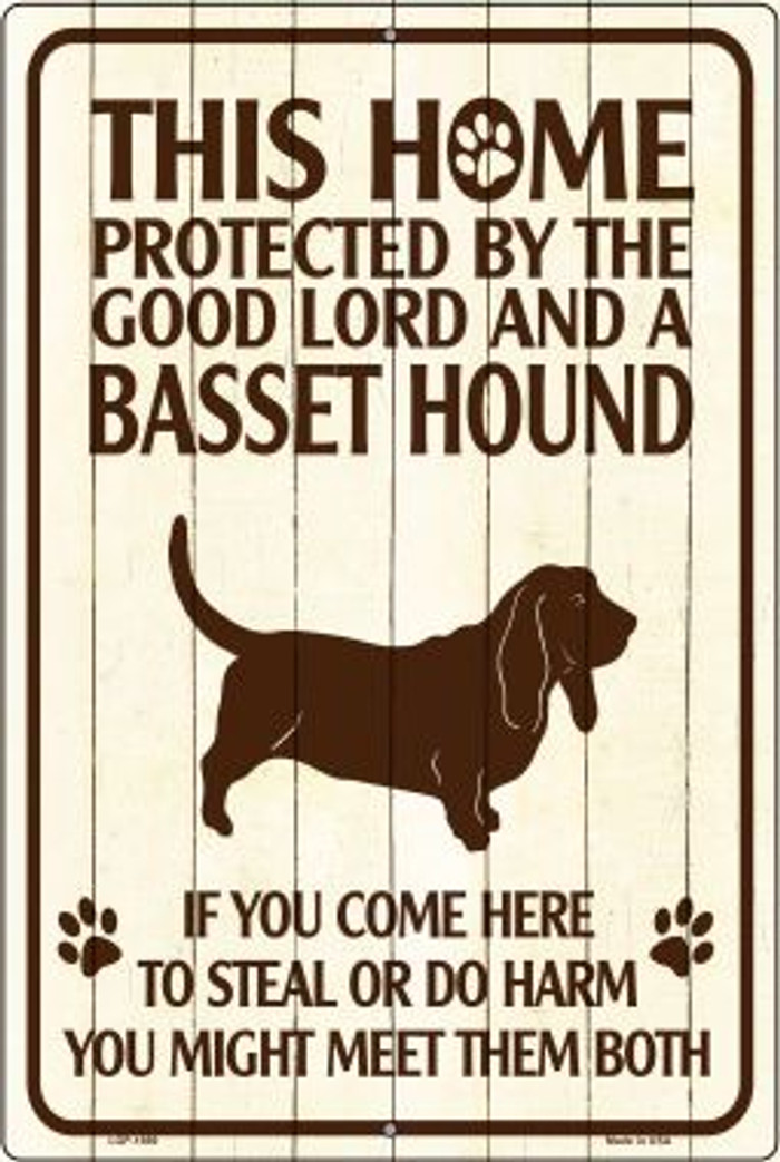 This Home Protected By A Basset Hound Large Parking Sign Metal Novelty Wholesale LGP-1669