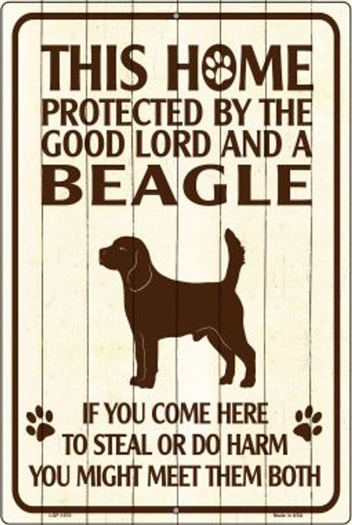 This Home Protected By A Beagle Large Parking Sign Metal Novelty Wholesale LGP-1670