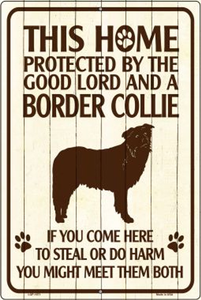 This Home Protected By A Border Collie Large Parking Sign Metal Novelty Wholesale LGP-1671