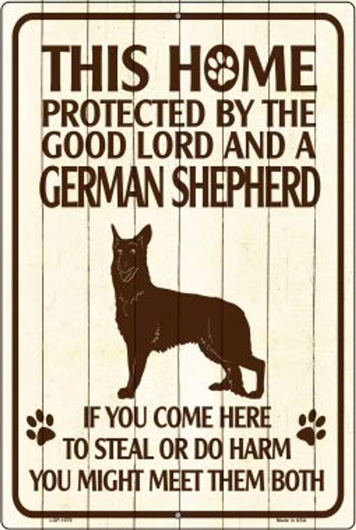 This Home Protected By A German Shepherd Large Parking Sign Metal Novelty Wholesale LGP-1679