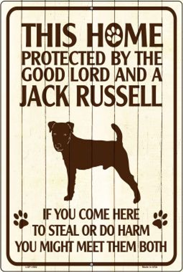This Home Protected By A Jack Russell Large Parking Sign Metal Novelty Wholesale LGP-1682