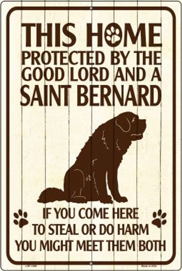 This Home Protected By A Saint Bernard Large Parking Sign Metal Novelty Wholesale LGP-1686