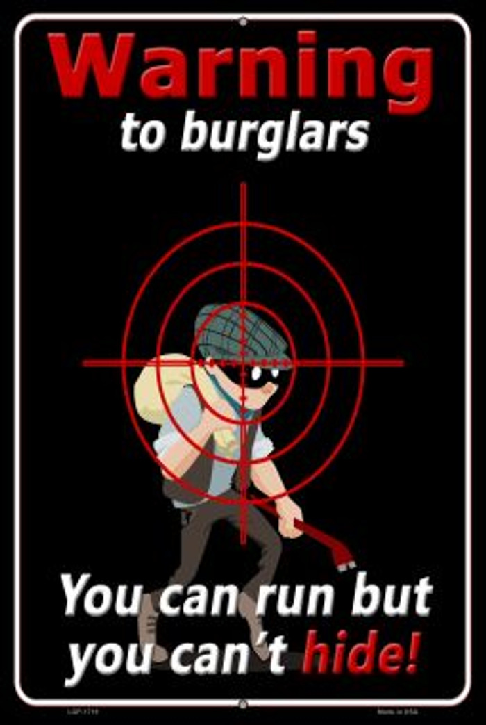 Warning To Burglars Novelty Wholesale Large Parking Sign LGP-1718