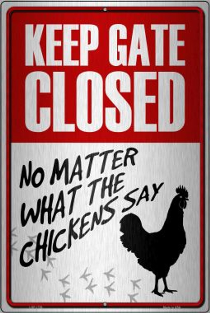 Keep Gate Closed Wholesale Metal Novelty Large Parking Sign LGP-1758
