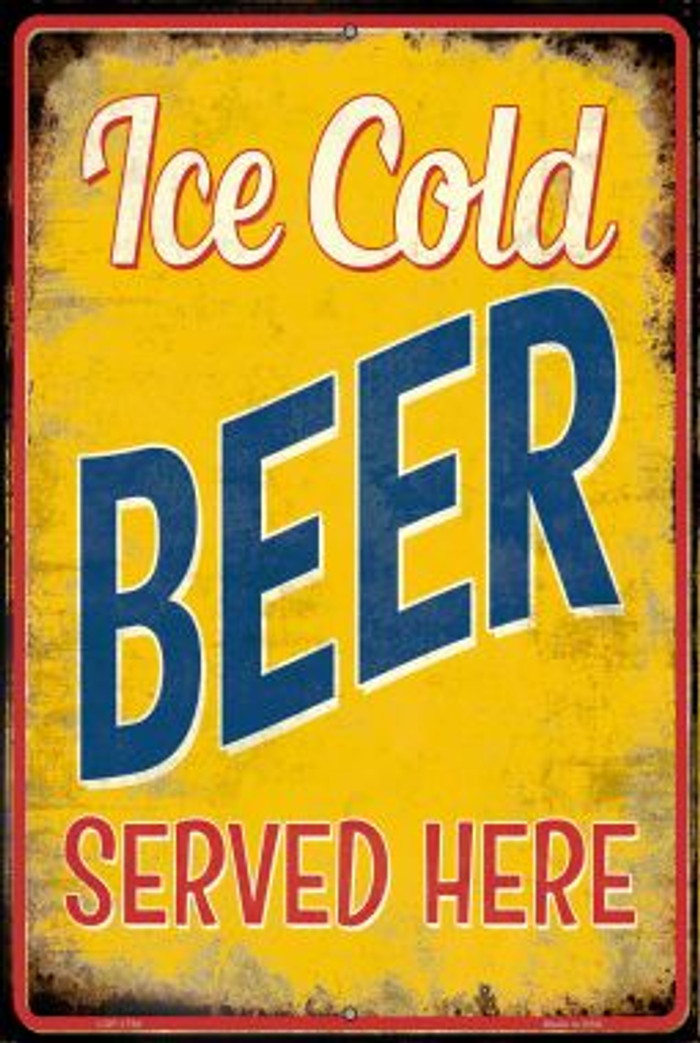 Ice Cold Beer Served Here Wholesale Novelty Large Parking Sign LGP-1784