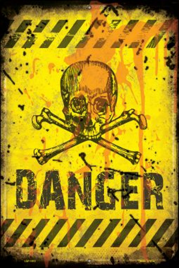 Danger with Skulls Wholesale Large Parking Sign LGP-1812