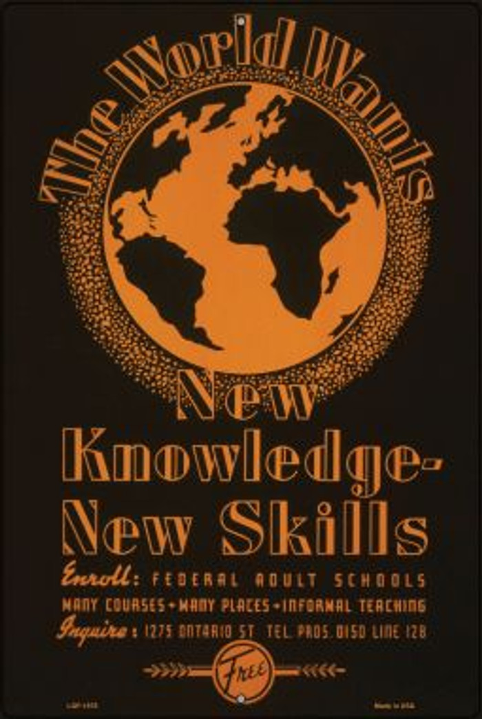New Knowledge New Skills Vintage Poster Wholesale Large Parking Sign LGP-1878