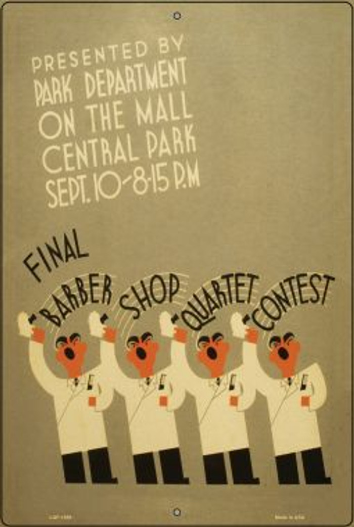 Barber Shop Quartet Contest Vintage Poster Large Parking Sign LGP-1889