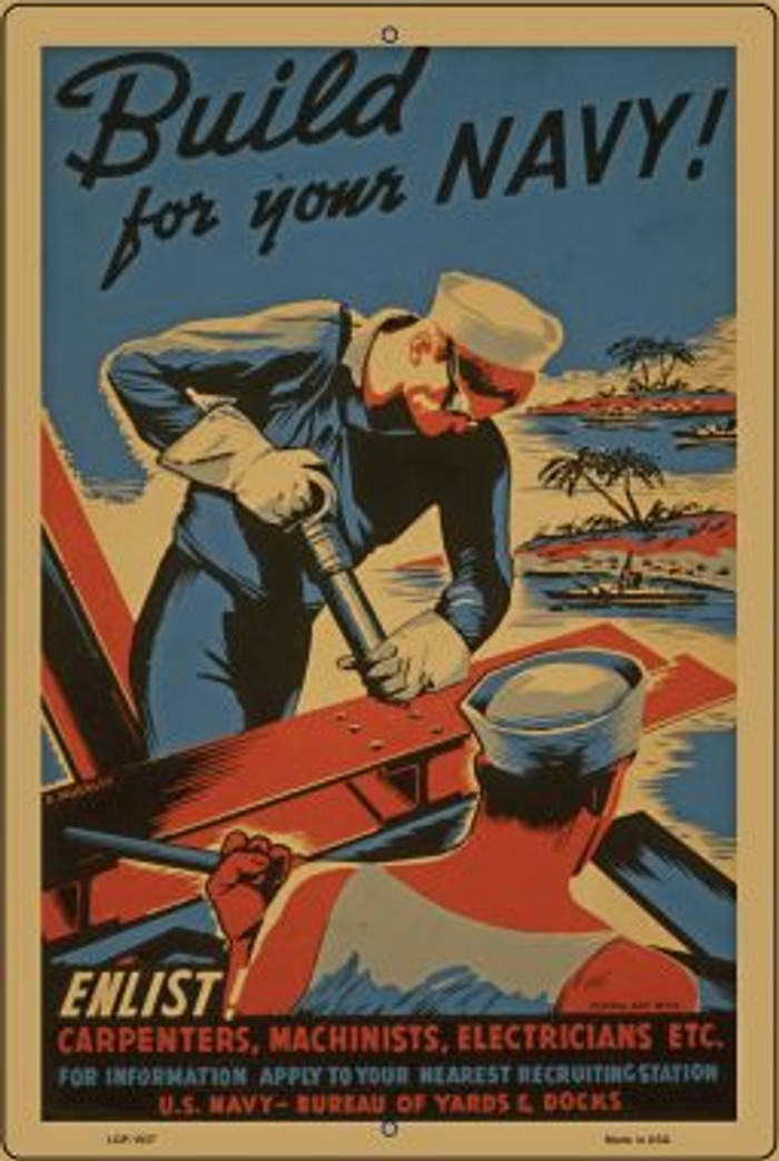 Build Your Navy Vintage Poster Wholesale Large Parking Sign LGP-1937