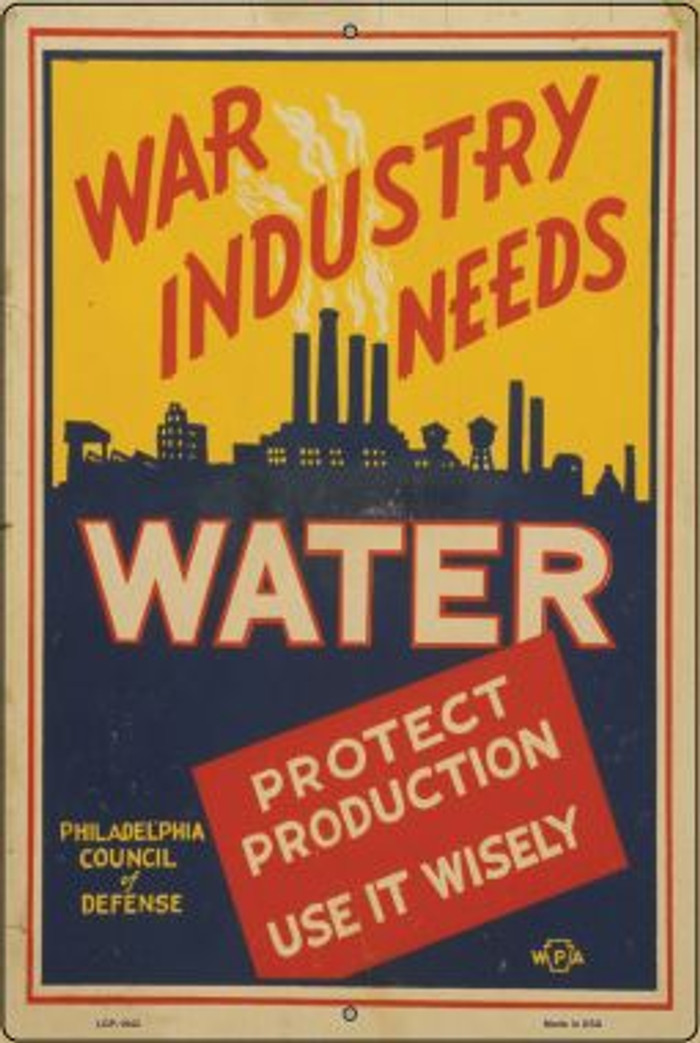 War Industry Needs Water Vintage Poster Wholesale Large Parking Sign LGP-1942