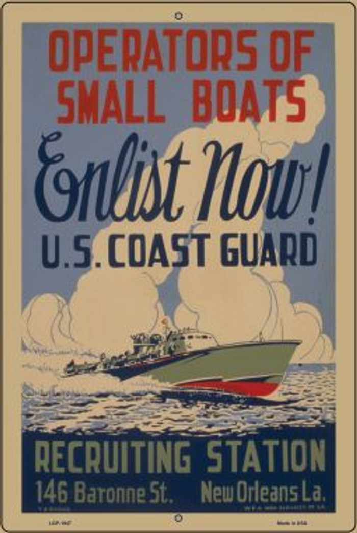 Enlist Now Coast Guard Vintage Poster Wholesale Large Parking Sign LGP-1947