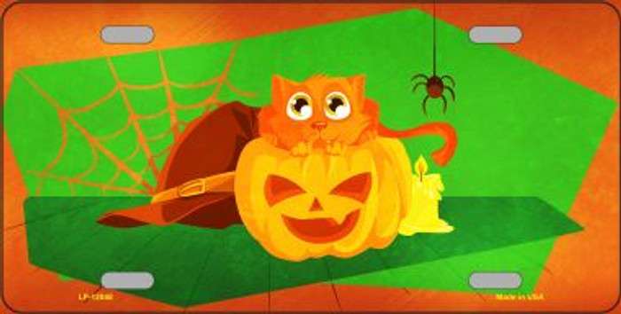 Pumpkin Kitty Wholesale Novelty Metal License Plate LP-12048