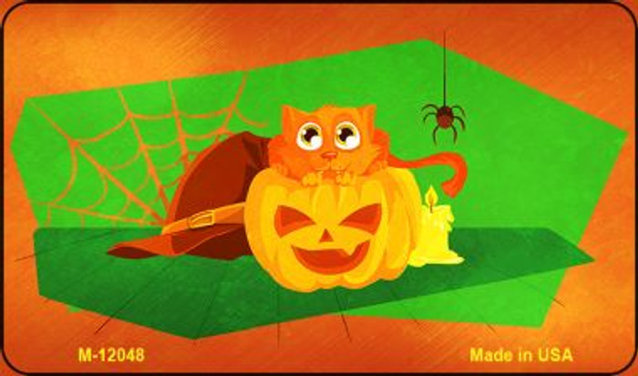Pumpkin Kitty Wholesale Novelty Metal Magnet M-12048