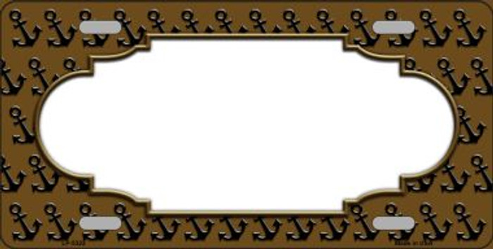 Brown Black Anchor Print With Scallop Center Wholesale Metal Novelty License Plate LP-5322