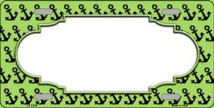 Lime Green Black Anchor Print With Scallop Center Wholesale Metal Novelty License Plate LP-5324