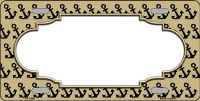 Gold Black Anchor Print With Scallop Center Wholesale Metal Novelty License Plate LP-5326