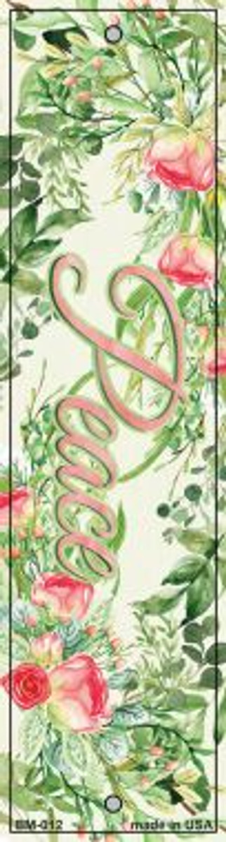 Peace on Flowers Wholesale Novelty Metal Bookmark BM-012