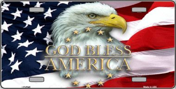 God Bless America Eagle Novelty Wholesale Metal License Plate LP-5348