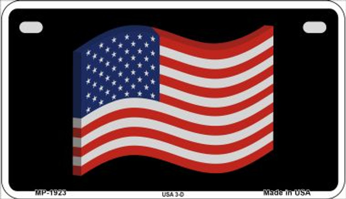 USA 3-D Flag Wholesale Novelty Metal Motorcycle Plate MP-1923