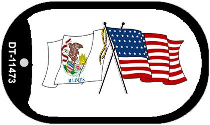 Illinois / USA Crossed Flags Wholesale Novelty Metal Dog Tag Necklace DT-11473